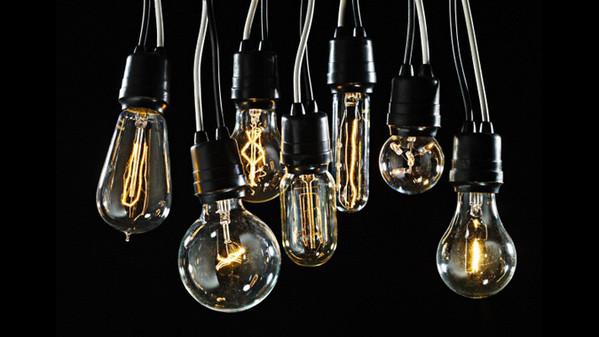 03 Nov 2009, New York, NY, USA --- Group of Edison lightbulbs --- Image by © Dan Saelinger/Corbis